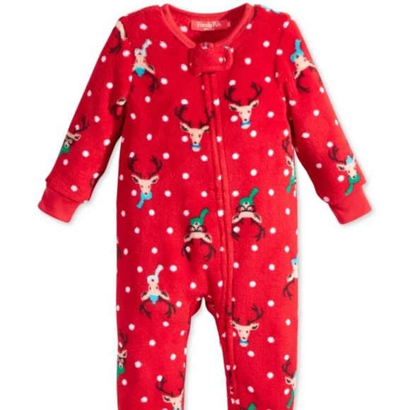 c246a43411 Christmas Pajamas Baby Boy Girls Footed One Piece